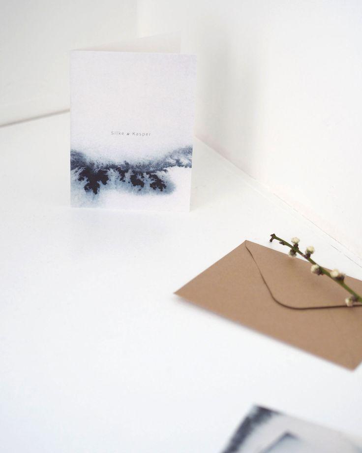 Wedding invitations by artist & designer Silke Bonde. Watercolor invitations. Nordic and simple.