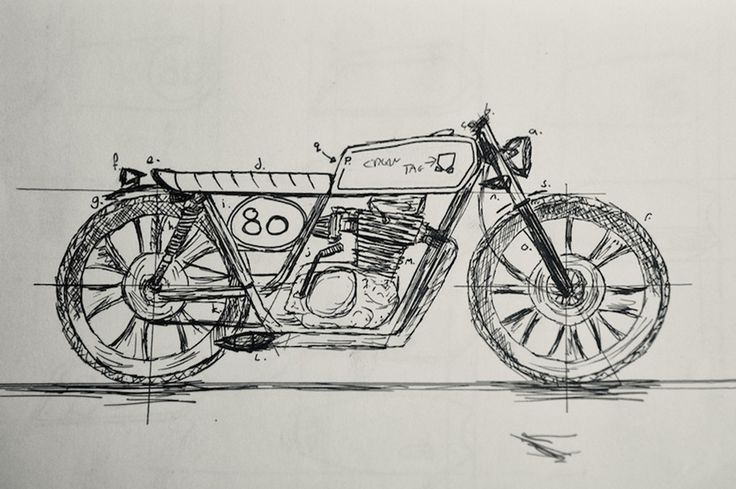 yamaha xs400 cafe racer sketch - Google Search