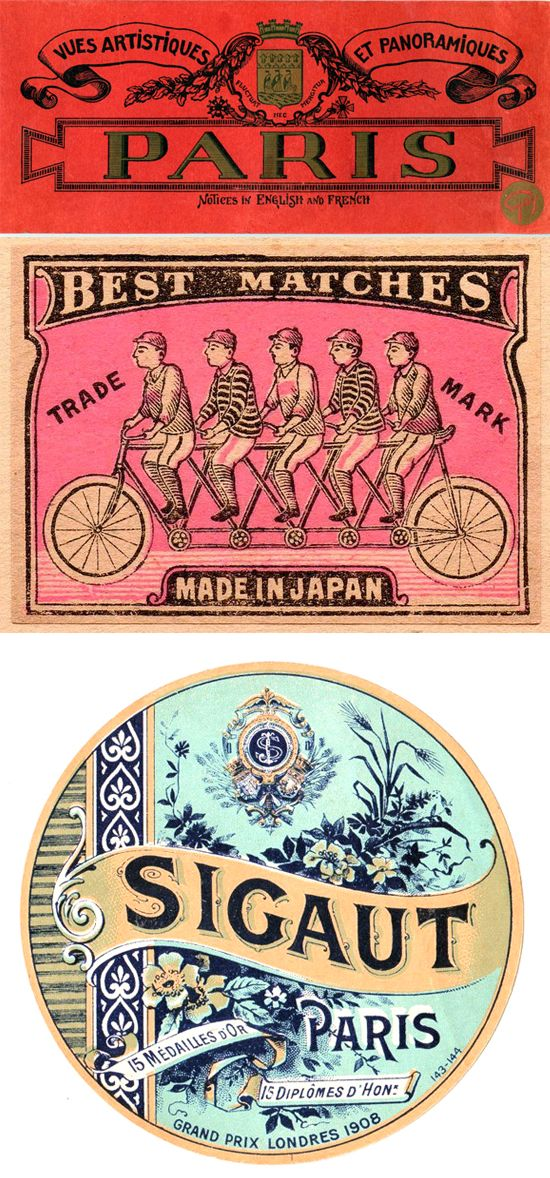 Vintage tags, matchstick covers, and labels - via designlovefest