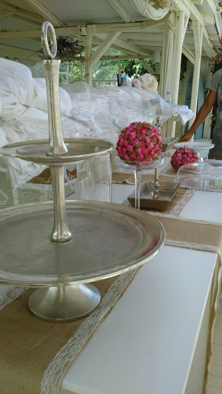 Behind the scenes with our sweets table - before the sweets! Islandevents.gr styling weddings in Naxos Greece