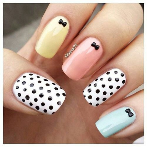 Mani Perfection - Love the little bows and polka dots!