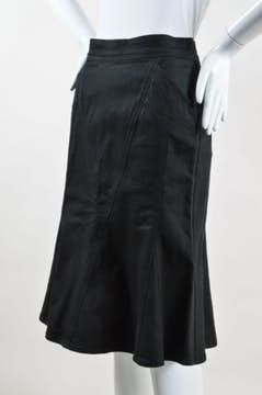 Moschino Jeans | Moschino Jeans Black Cotton Stretch Flared Trumpet Denim Skirt Sz 6