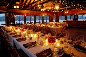 Rustic Adirondack style wedding venue on Lake George