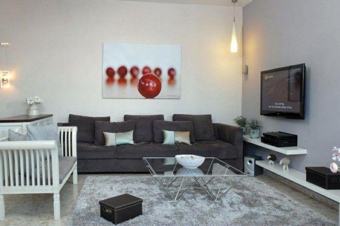 wohnideen wohnzimmer dunkelgraues sofa