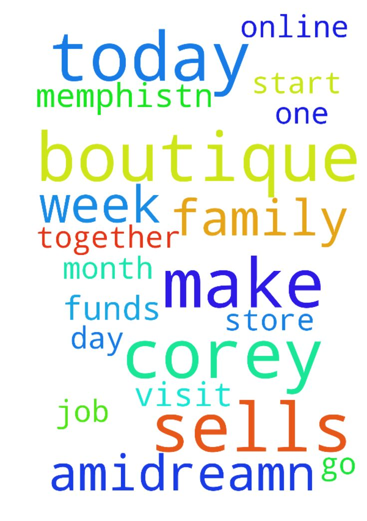 Please pray for me that I make some sells today at - Please pray for me that I make some sells today at my online boutique store amidreamn boutique. Please pray for me that I get a job this week. Please pray for me that I have the funds every month to go Memphis,Tn to visit Corey. Please pray that Corey amp; I start a family together one day.  Posted at: https://prayerrequest.com/t/HPw #pray #prayer #request #prayerrequest