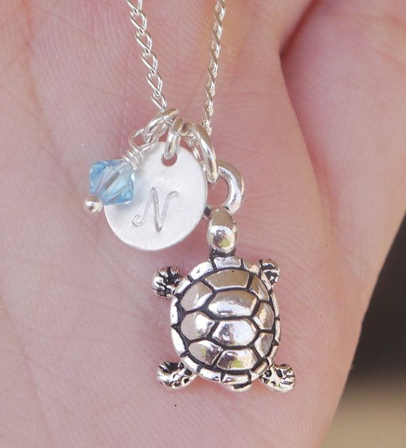 Personalized Turtle Necklace, Sea Turtle Jewelry, Cute Niece Birthday Gift Necklace, Tortoise Necklace, Personalized Beach Jewelry