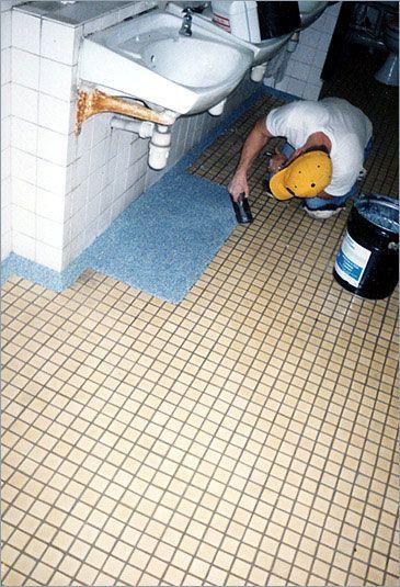 Epoxy Grout For Bathrooms: Marble Epoxy Flooring In Progress, Epoxy Flooring