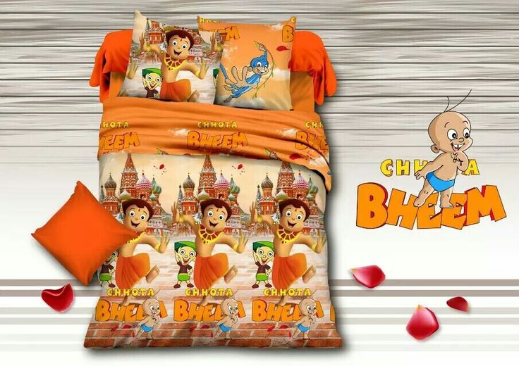 Our very own Chhota Bheem and his friends Bed Sheet Kids cartoon glace cotton bedsheet