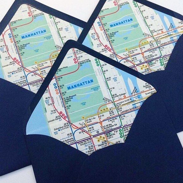Your save the dates and wedding invitations set the tone for your wedding day. We love using this subway map liner for NYC weddings and can't help imagining how excited our couples' out-of-town guests will be opening up their invitations! By Pineapple Street Designs