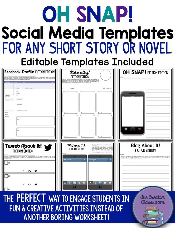 Are you looking for a way to engage your students in a fun & creative real world activity after reading a short story or novel? Look no further than the Oh Snap! Editable Social Media Templates that are designed for any content area in middle or high scho