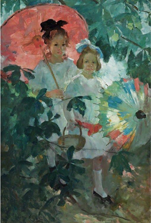 Martha Walter (American Impressionist, 1875-1976) Children with Japanese Parasols