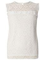 Womens Ivory Lace Ruffle Sleeveless Top- White