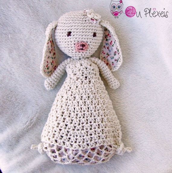 Crochet Security Blanket Crochet Amigurumi Bunny Baby by Ouplexeis