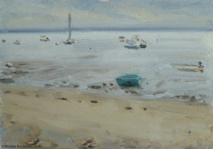 Le bassin d'Arcachon vue de la plage de Petit Piquey, oil on wood, 19 x 27 cm, 2016. 4/8