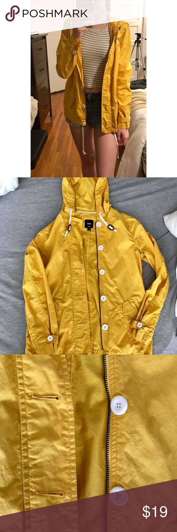Gap Yellow Zip Up/Button Rain Coat, XS Amazing condition yellow GAP rain coat, size XS. 100% cotton. L: 24 in., W: 18 in. No flaws. Feel free to make an offer or comment any questions you may have below (: GAP Jackets & Coats Pea Coats
