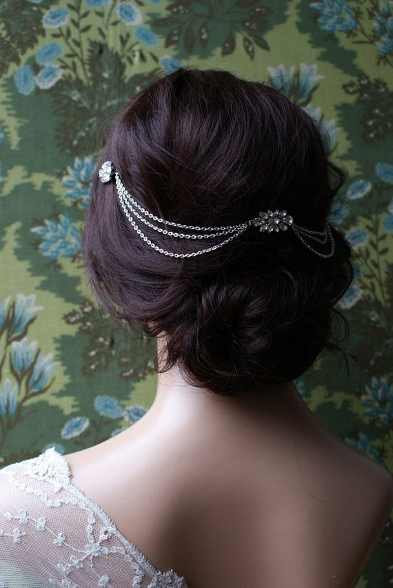 Draped bohemian Wedding Headpiece -Crystal chain Headpiece with swags -  back of the head, Agnes Hart, draped chain hair jewellery