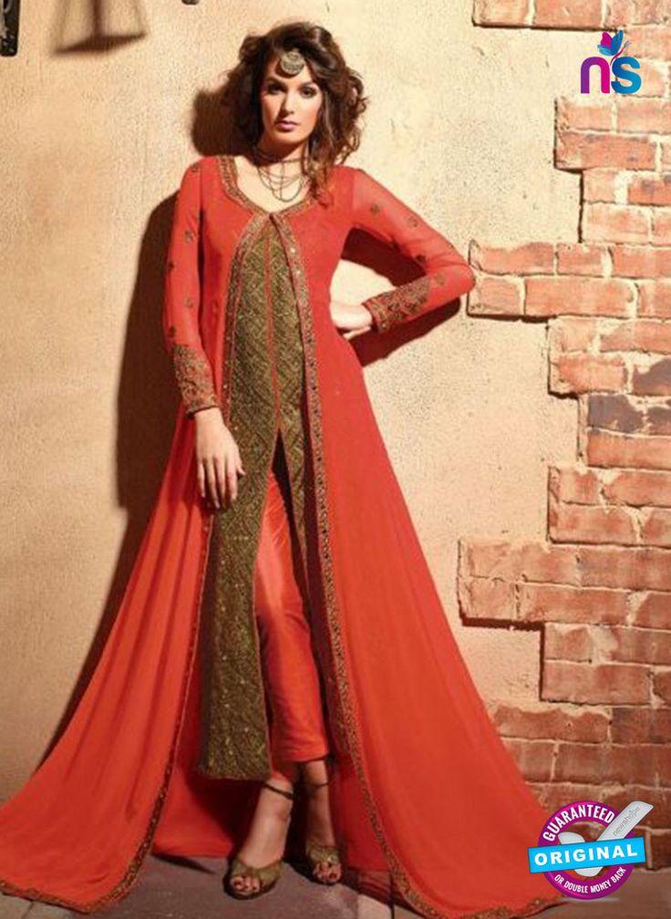Maskeen 2703-Orange and Brown Color Georgette Designer Suit