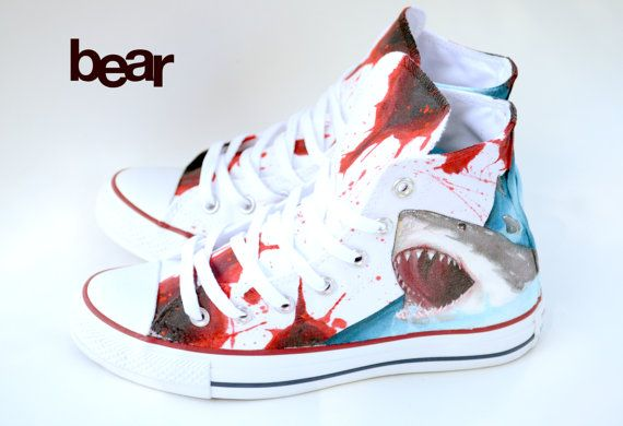 Custom Great White Shark Shoes Hand Painted Custom by BearGallery