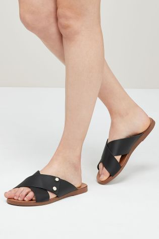cce278a135e1 Buy Black Crossover Mule Sandals from Next Israel