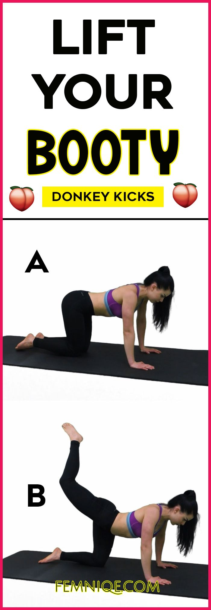 Powerful Butt Lifting Exercises For Women at home - want a bigger buttocks workout that works? Then give donkey kicks a try! Its one of the best butt exercises for women!