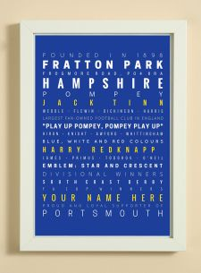 Portsmouth Football Club Word Art Design Print - Words, Names And Facts Associated With Portsmouth FC - In White Or Black A4 Box Frame
