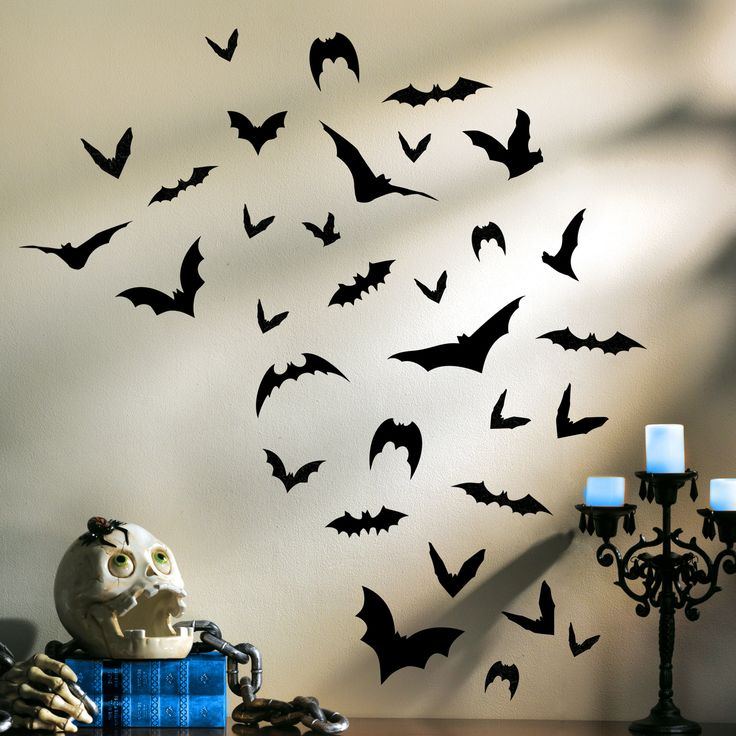 totally ghoul bats wall art halloween decoration cheap easy perfect for a halloween - Bat Halloween Decorations