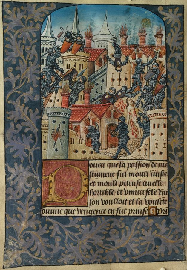 Illumination from the Vaux Passional showing the seige and fall of Jerusalem.  The manuscript is from 1503 and is absolutely stunning.