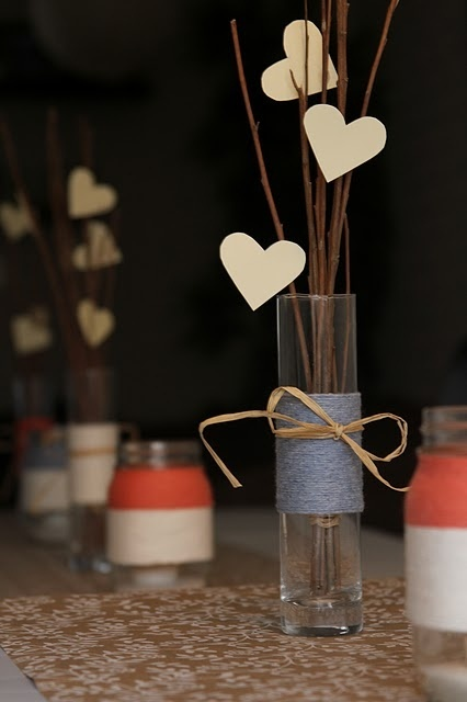 (simple, rustic decor) - good for a valentines dinner party, maybe?