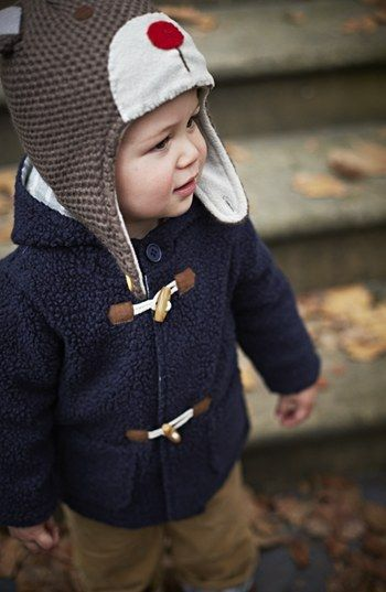 Boys Fleece Duffle Jacket. Adorable!