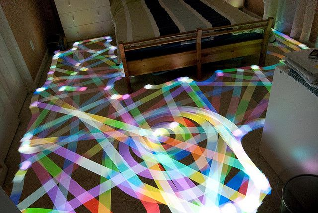 Light Painting created with a Roomba using a long exposure and lights - amazing idea, beautiful work