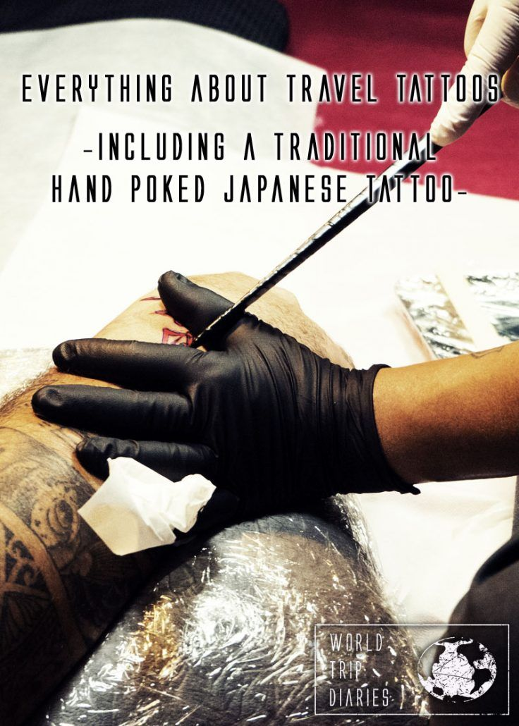 A Japanese Tebori tattoo artist tattooing an arm. Click to know everything about travel tattoos!