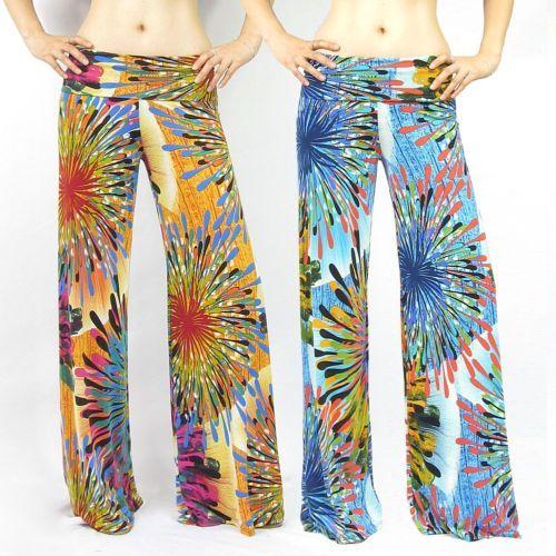 New Women's Foldover Waist Fireworks Multicolor Palazzo Wide Leg Pants s M L | eBay