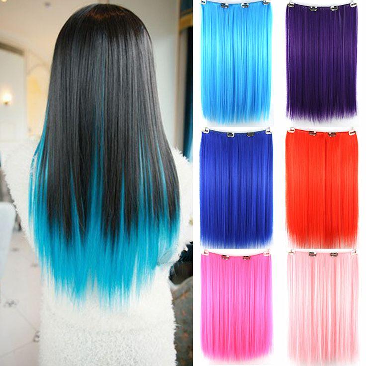 Tianlin 9色ピンクブルーヘアカラークリップで髪オンブルかつらエクステンション合成treadlocksメガ髪ストレートかつら
