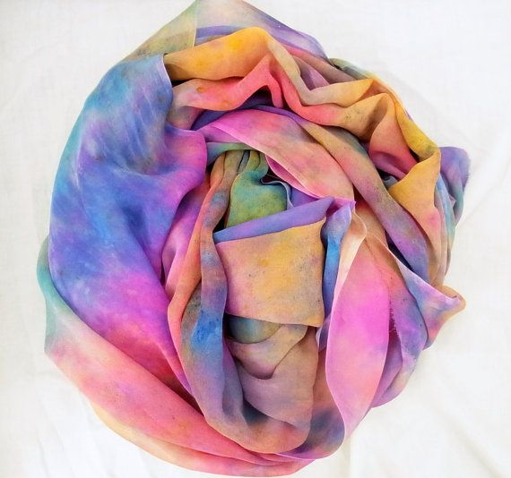 Hand dyed Silk Fabric Silk Chiffon Ready to by SallyAnnesSilks