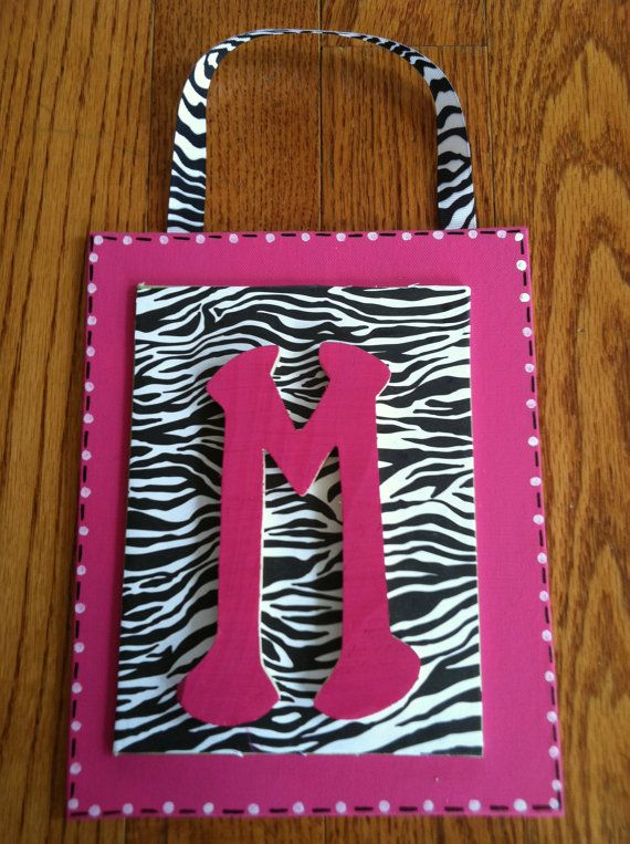 Hot pink/Black zebra print wall decor by ErinGraceDesigns