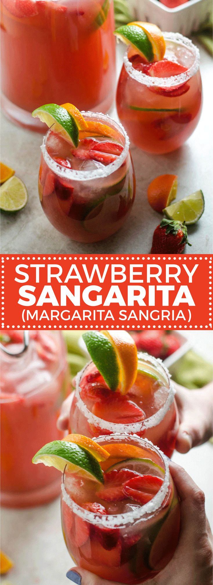 Spend this weekend sipping Strawberry Sangarita-- the love child of margaritas and sangria. This cocktail is over-the-top delicious and perfect for parties. | hostthetoast.com