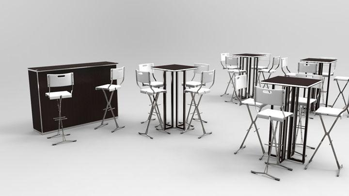 Terraza con mesas Grace G1100 altas con luz y taburetes trievi.