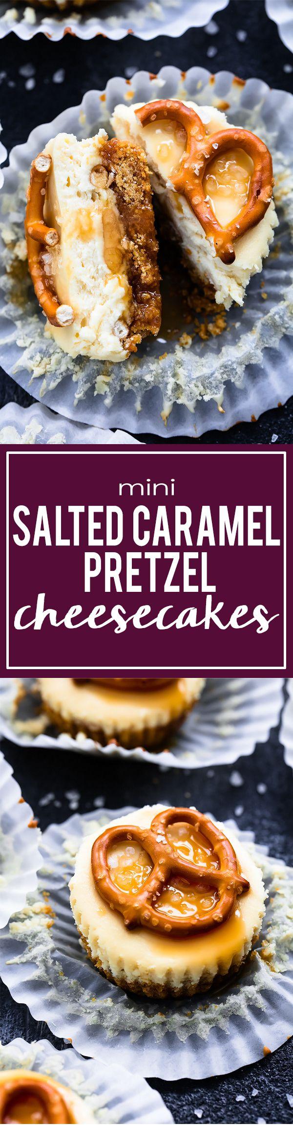 Mini Salted Caramel Pretzel Cheesecakes | Creme de la Crumb