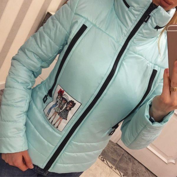 Одежда Женская куртка с высоким воротником карманы на молнии с капюшоном мятная