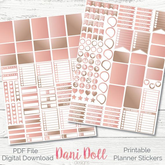 Rose Gold 2 Tone Weekly Planner Stickers Colourful Glam 2 Sheets Printable Sticker Pack PDF Instant Download Erin Condren Mambi by danidolldesignsx