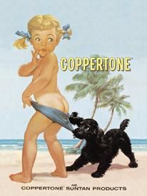 Introduced in 1959, the impish child whose blue swimsuit bottoms get pulled down by a cocker spaniel was played by a three-year-old Jodie Foster in 1965.