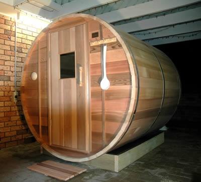 2.1m length Ukko Barrel Sauna with traditional Cedar sauna door