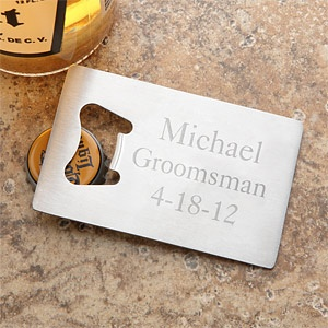 Personalized Credit Card Size Bottle Opener - GREAT gift idea for groomsmen and ushers! It's only $14.95 at PersonalizationMall! #Wedding
