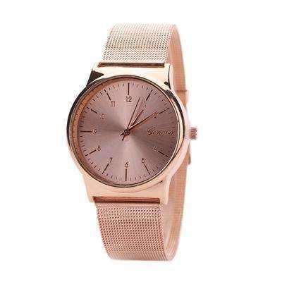 Geneva Watch Womens Rose Gold Watches Reloj Mujer Clock Simple Bracelet watch Mesh Stainless Steel Relogio