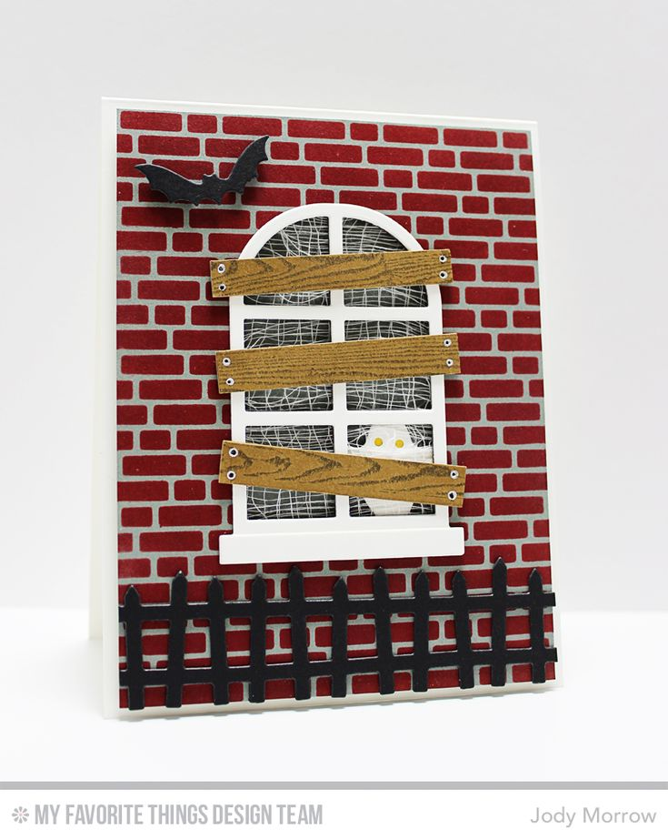 Handmade card from Jody Morrow featuring English Brick Wall Stencil by MFT Stamp