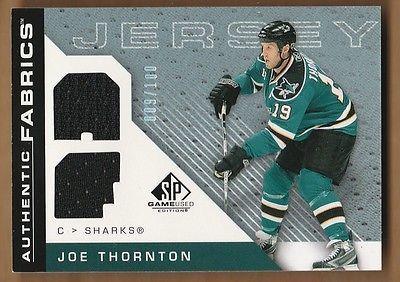 JOE THORNTON 2007-08 SP Game Used #/100 Jersey Dual Authentic Fabrics Sharks