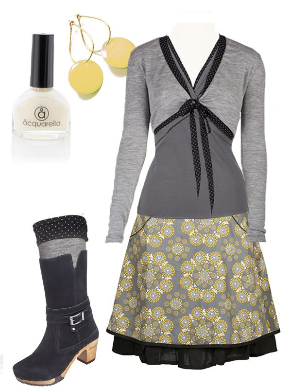 """Ecoutures idea of a wintertime: Our """"Sonja""""skirt - """"Twis""""blouse - the wool """"Wrap"""". Accessories: Our Yellow Dot-earrings. We recommend these """"Mandy"""" boots from Woody  and perhaps our wool """"Warmers"""". Aquarella - And the only truly safe nail polish that is both water-based and non-toxic."""