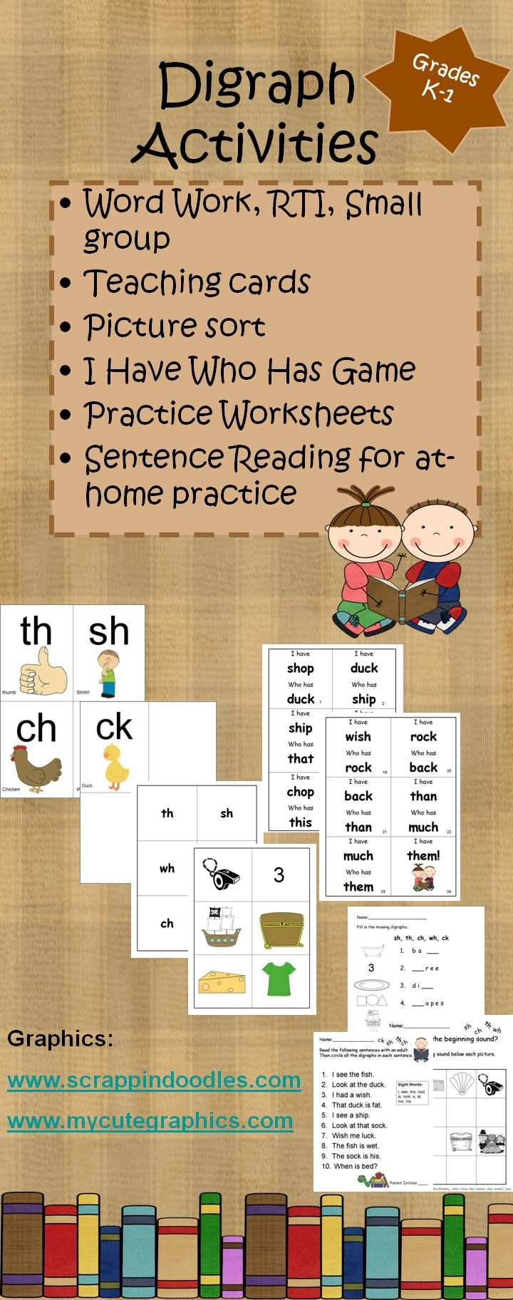 Digraph activities for grades K-1, RTI, small group