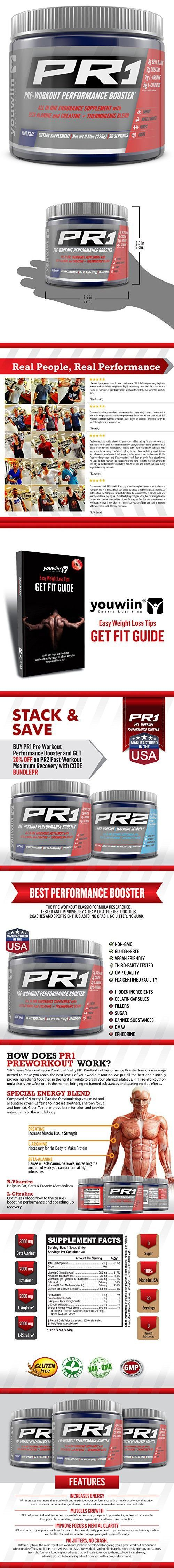 #1 Rated PR1 Pre Workout with Creatine, Beta Alanine, Amino Acids, Thermogenic   Performance Booster   Complete Nutritional Bodybuilding Supplement   30 Servings (Blue Razz)   Youwiin Sports Nutrition #completenutrition,