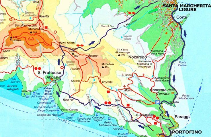 itinerario a piedi da Portofino a Santa Margherita ligure attraverso i sentieri del parco di Portofino